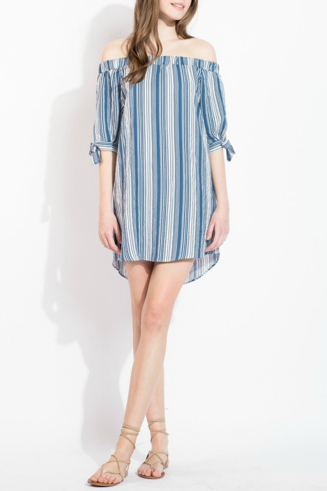 THML Clothing Striped Off Shoulder Dress - Main Image