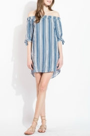 THML Clothing Striped Off Shoulder Dress - Front cropped
