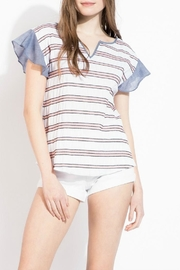 THML Clothing Striped Ruffle Top - Front cropped