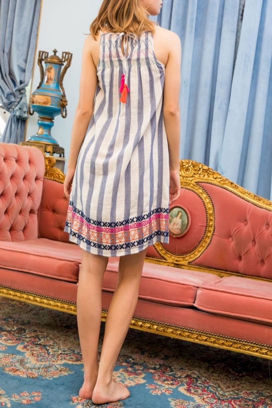 THML Clothing Striped Smocked Dress - Front Full Image