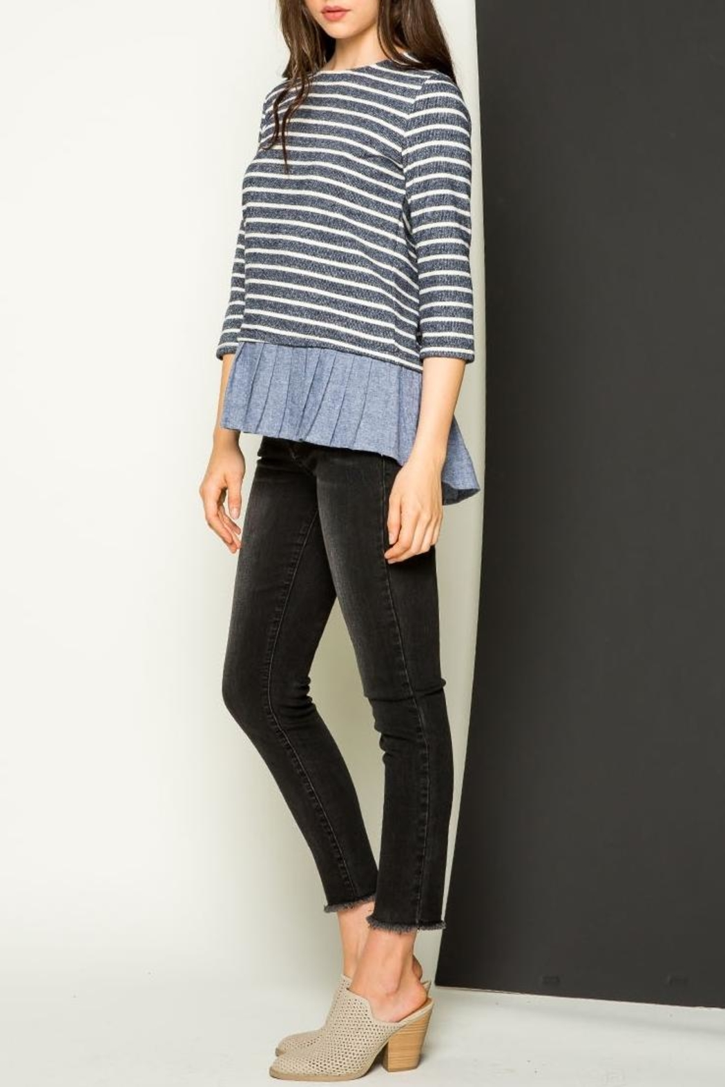 THML Clothing Striped Sweater - Side Cropped Image