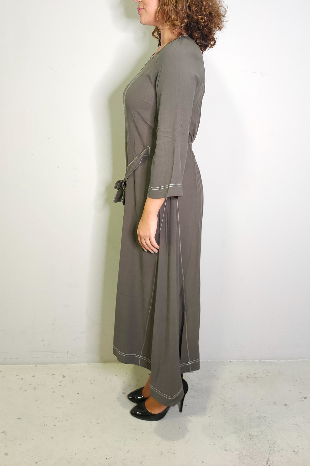 thought Walnut Grey Dress - Front Full Image