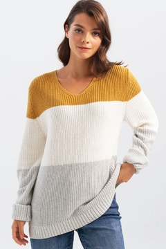 Charlie B. Three Colors Back Detail Sweater - Product List Image