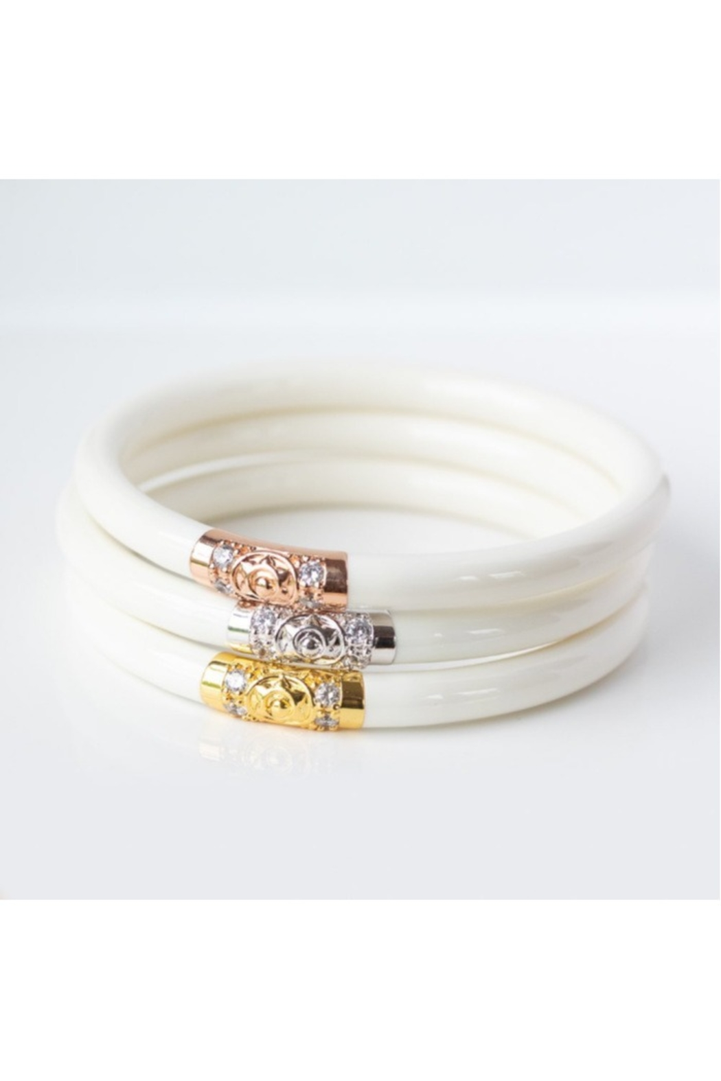 BuDhaGirl THREE KINGS ALL WEATHER BRACELETS-IVORY - Front Cropped Image