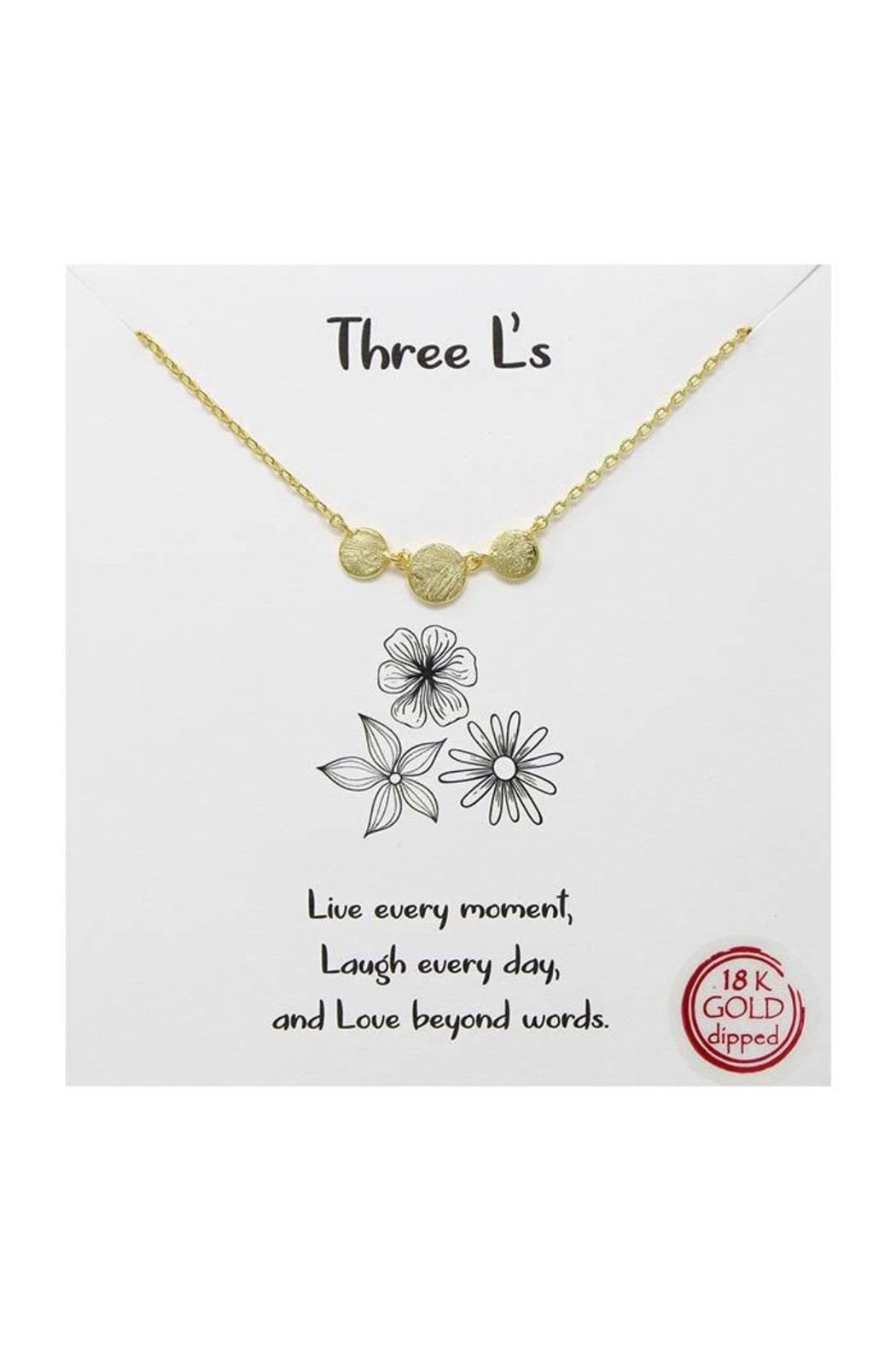 Lets Accessorize Three L's Necklace - Front Cropped Image