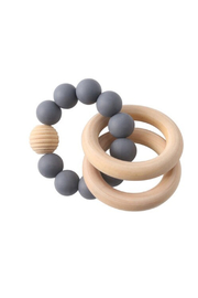Chewies Three Ring Silicone Birchwood Rattle - Product Mini Image