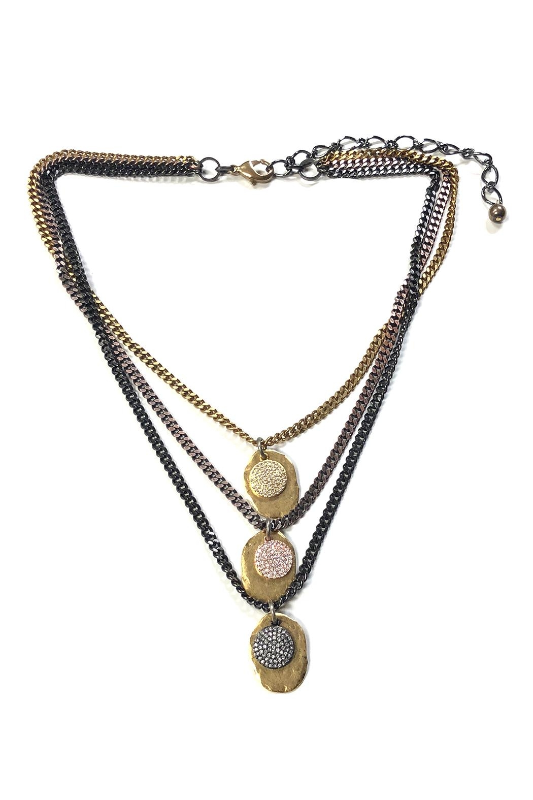 Lets Accessorize Three-Tier Plated Necklace - Front Cropped Image