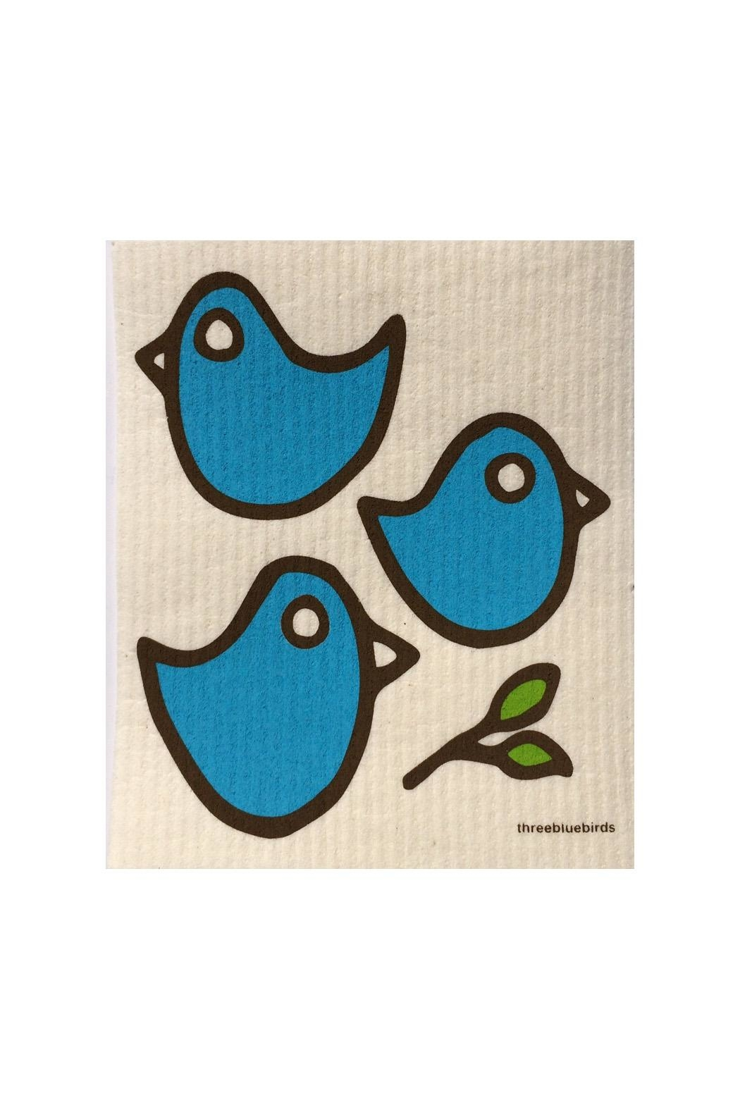 three bluebirds Blue Birds Dishcloth - Front Cropped Image