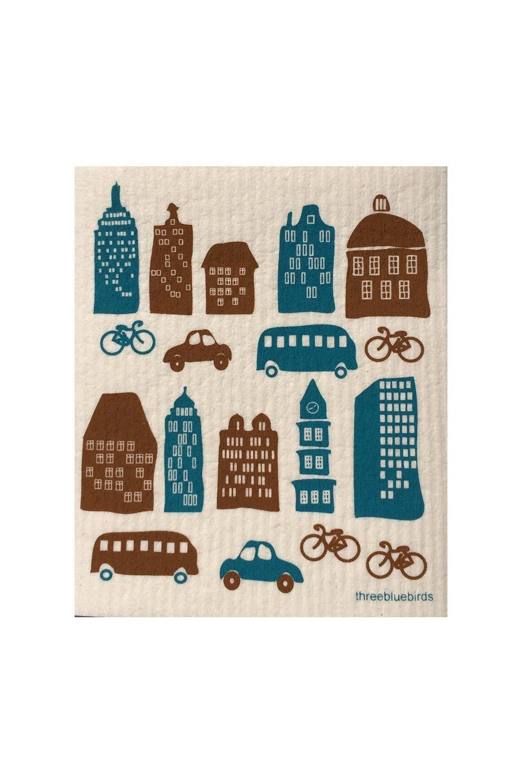 three bluebirds Swedish City Dishcloth - Main Image
