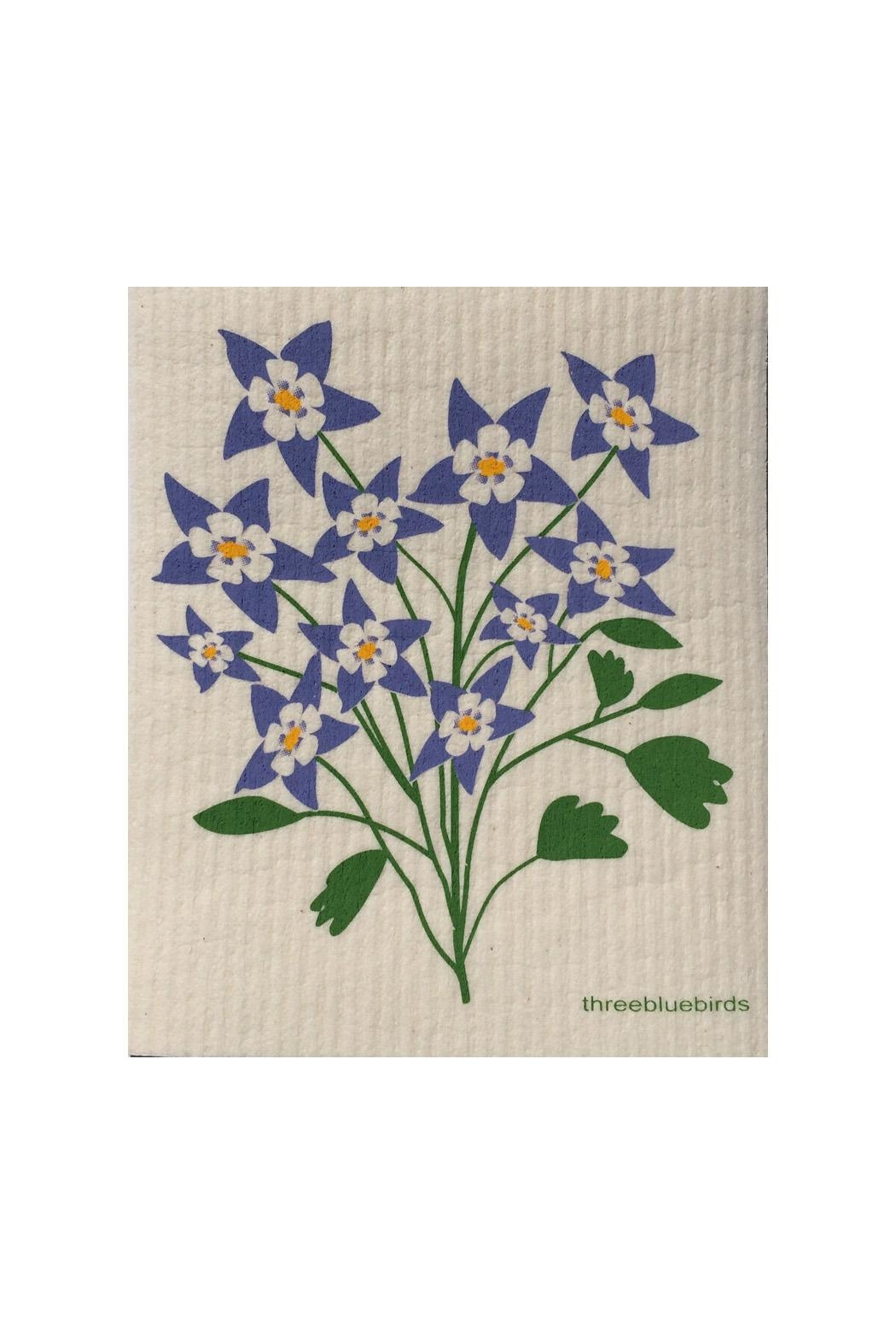 three bluebirds Swedish Flowers Dishcloth - Main Image