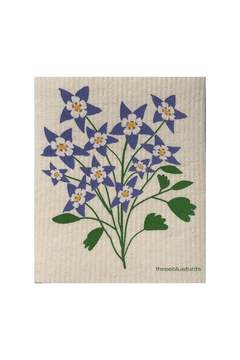 three bluebirds Swedish Flowers Dishcloth - Alternate List Image