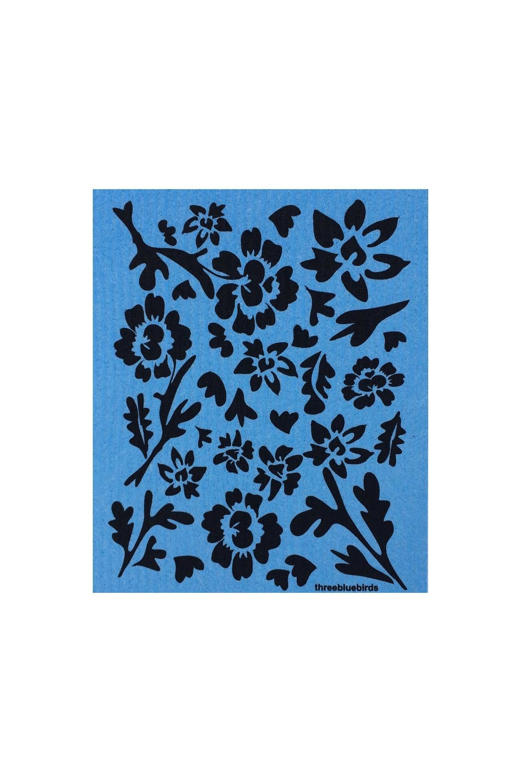 three bluebirds Swedish Washtowel Flowers - Main Image