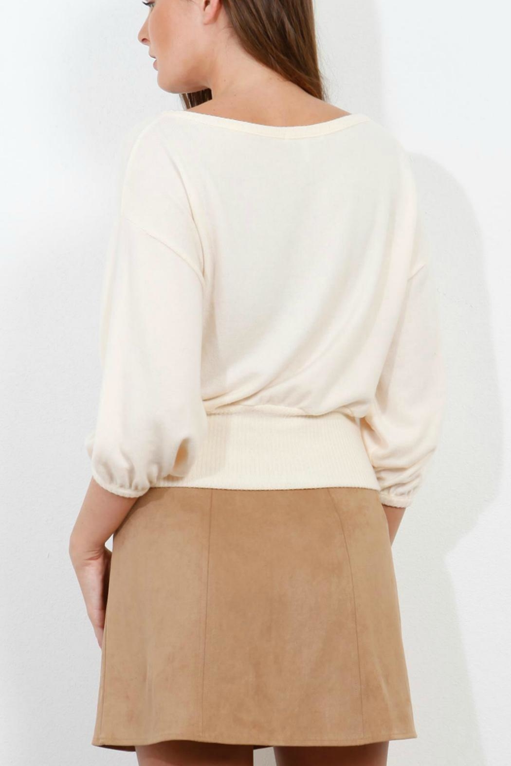 Three Dots Brushed Crop Sweater - Front Full Image