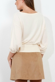 Three Dots Brushed Crop Sweater - Front full body