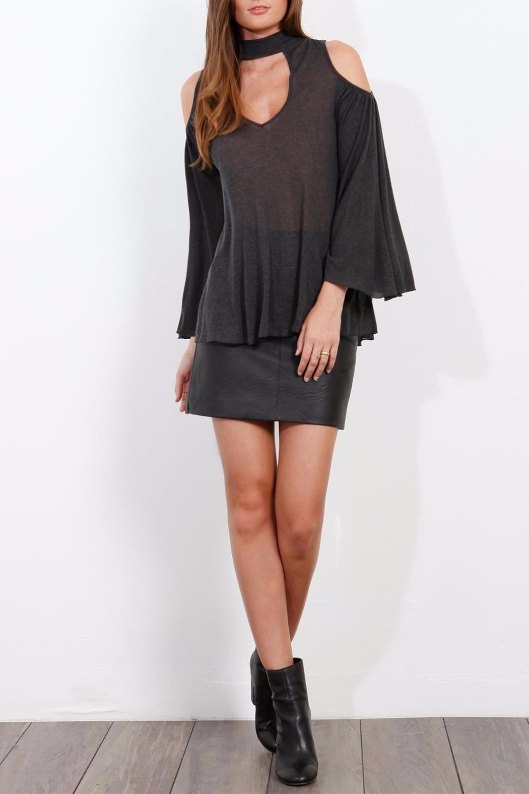 Three Dots Charcoal Cold Shoulder Top - Front Full Image