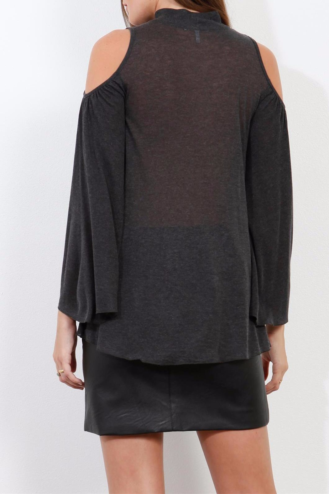 Three Dots Charcoal Cold Shoulder Top - Side Cropped Image