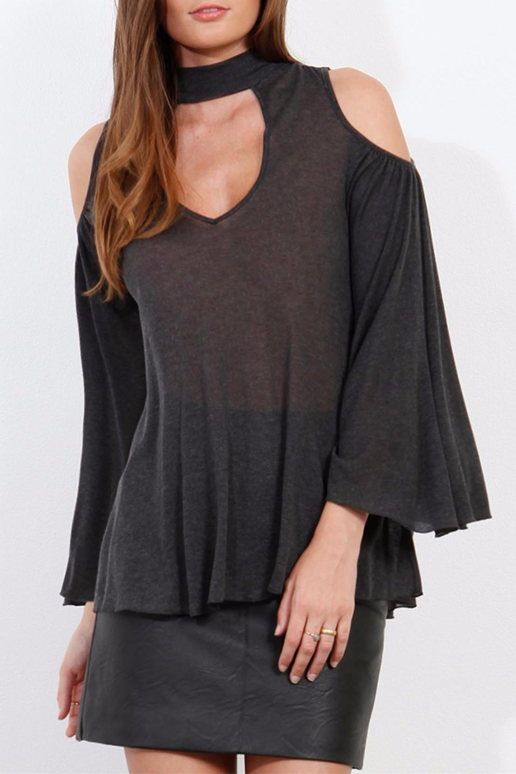 Three Dots Charcoal Cold Shoulder Top - Front Cropped Image