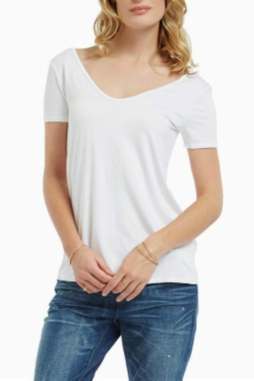 Three Dots Double V Tee - Front Cropped Image