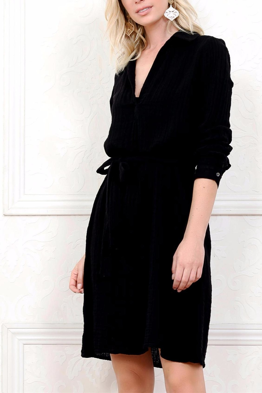 Three Dots Gauze Shirt Dress - Main Image