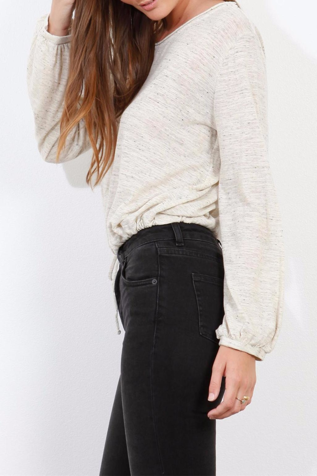 Three Dots Oatmeal Jersey Blouse - Side Cropped Image