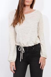 Three Dots Oatmeal Jersey Blouse - Front cropped