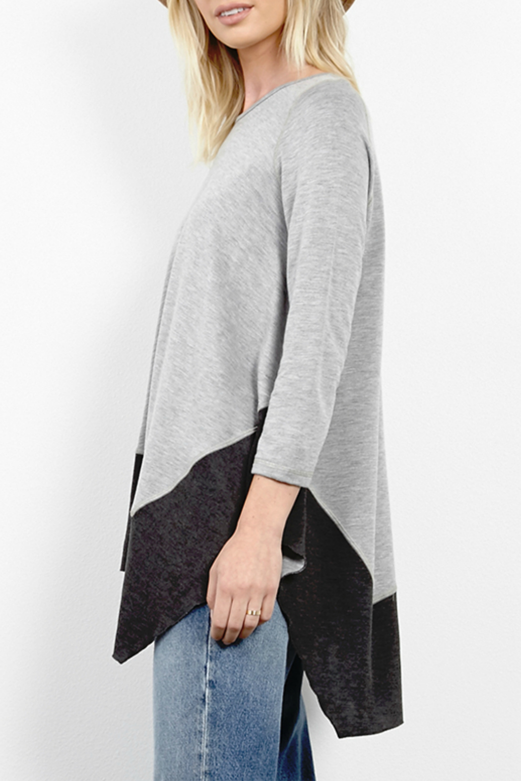Three Dots Reversible Asymmetric Tunic - Front Full Image