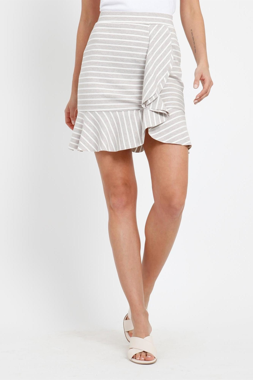 Three Dots Stripe Flounce Skirt - Front Cropped Image