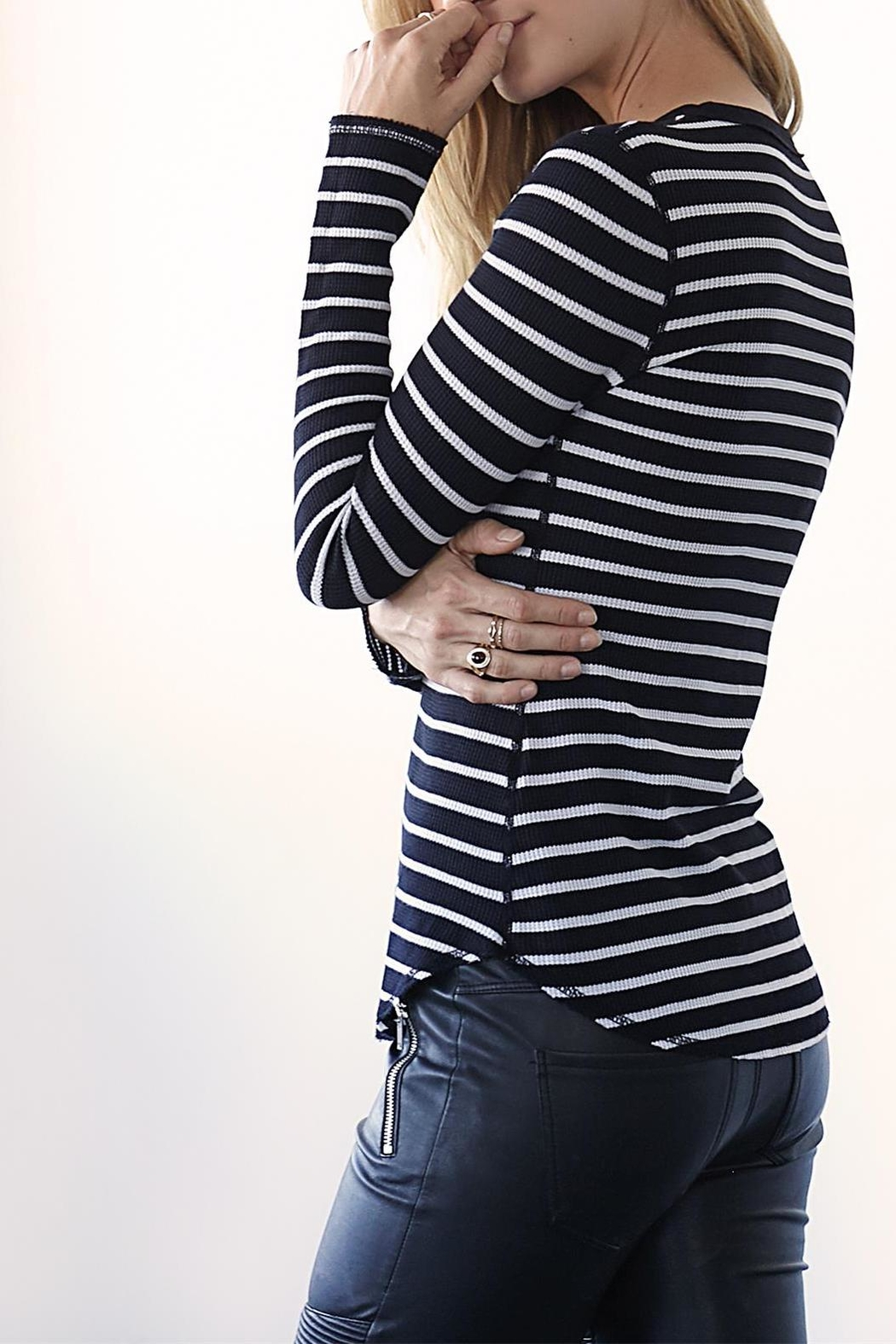 Three Dots Thermal Striped Crewneck - Side Cropped Image