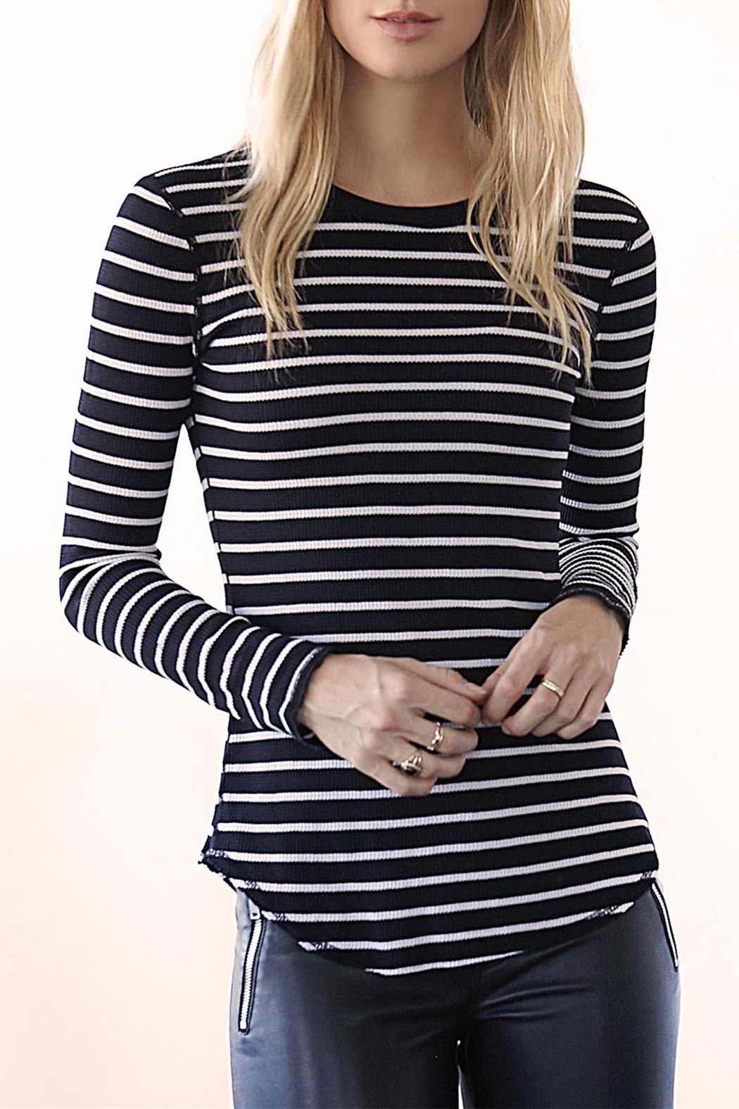 Three Dots Thermal Striped Crewneck - Front Cropped Image