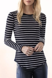 Three Dots Thermal Striped Crewneck - Front cropped