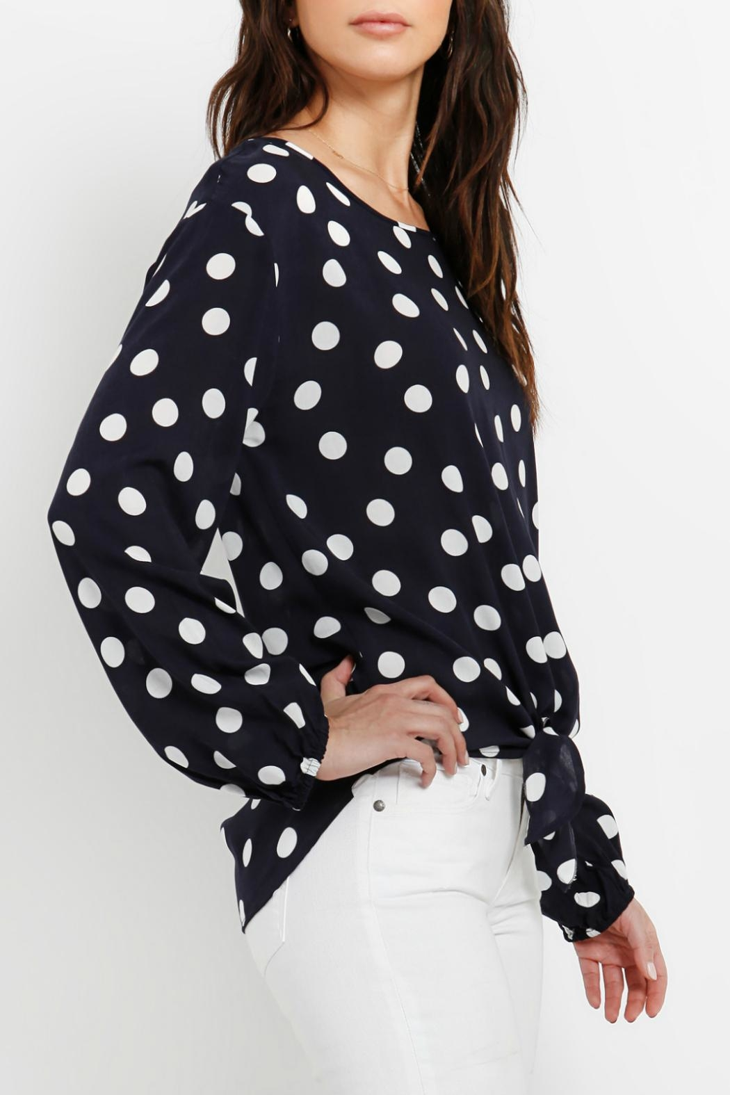 Three Dots Tie Front Blouse - Front Full Image