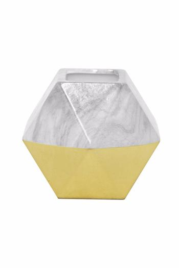 Three Hands White Gold Hexagon Vase From Atlanta By Outrageous