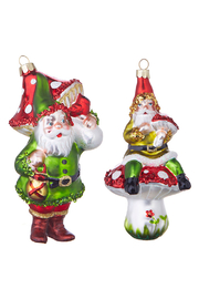 RAZ Imports Through The Woods Elf & Mushroom Glass Ornament - Front cropped
