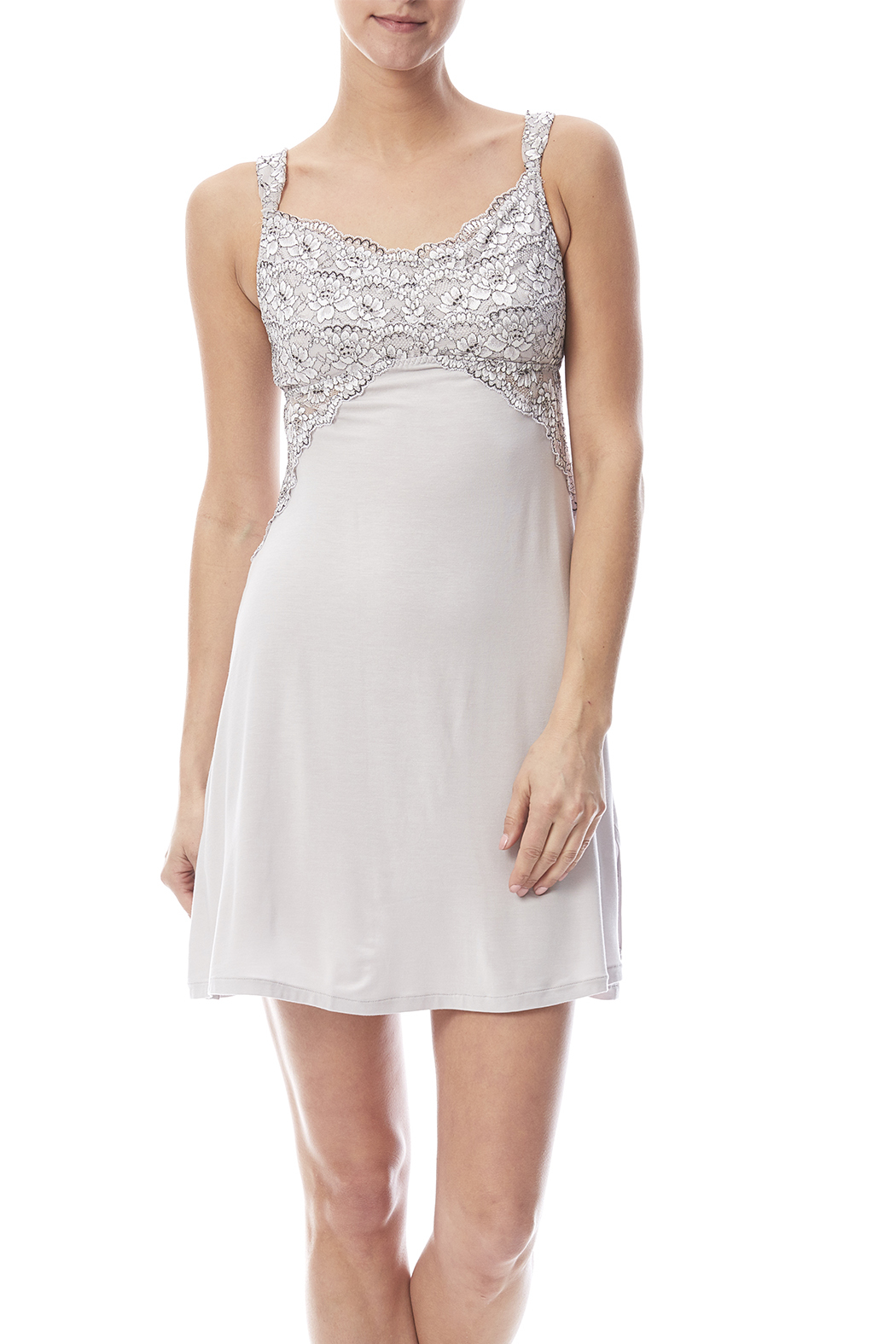 Tia Lyn Grey Modal Chemise - Front Cropped Image