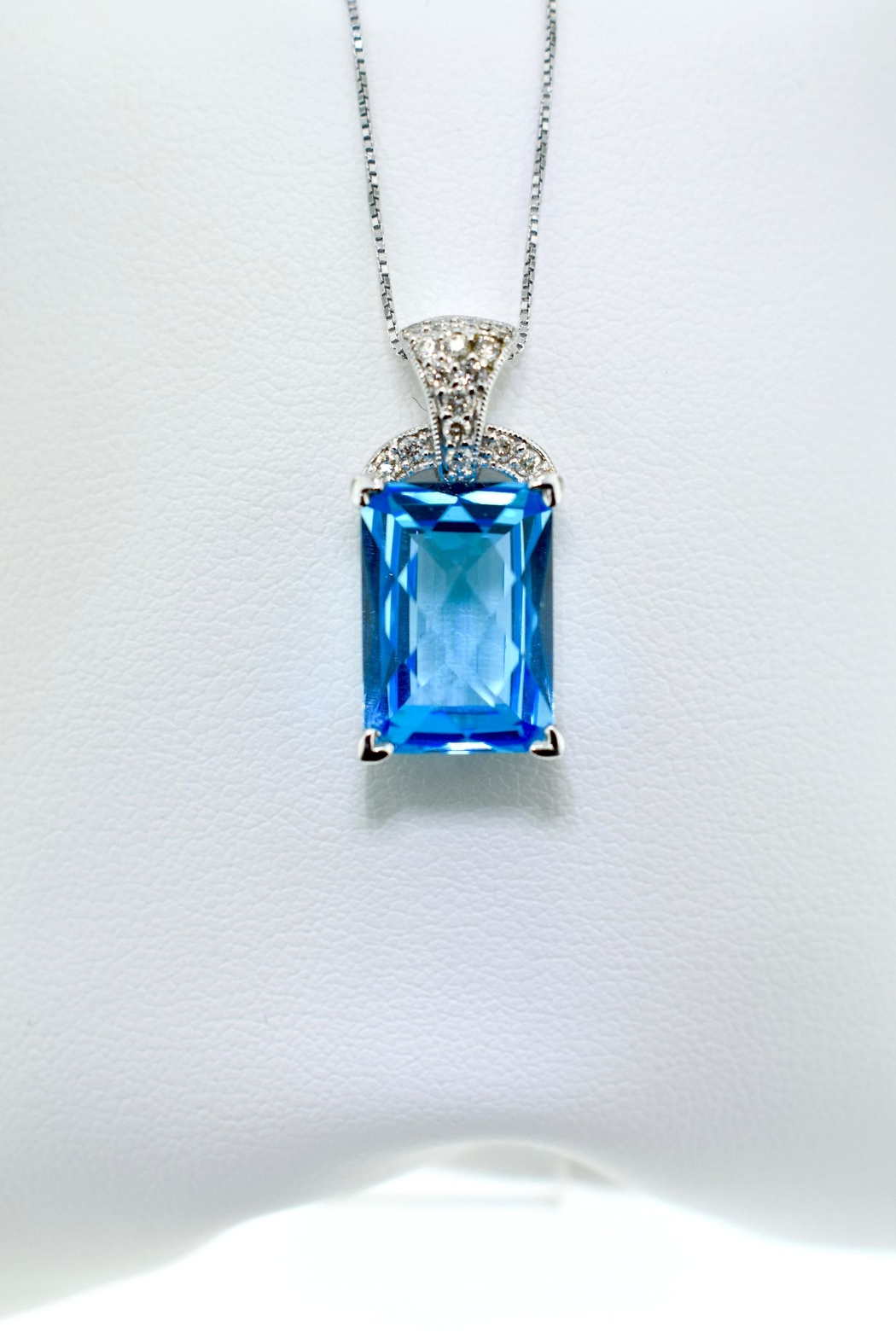 Tiara Fine Jewelry Blue Topaz Necklace - Front Cropped Image