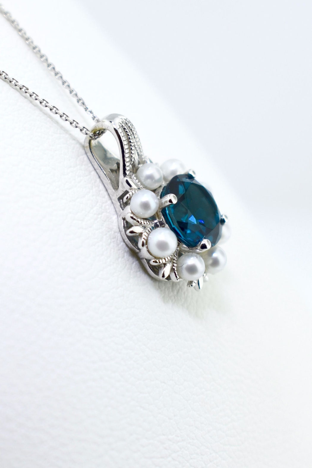 Tiara Fine Jewelry Blue Topaz Necklace - Front Full Image
