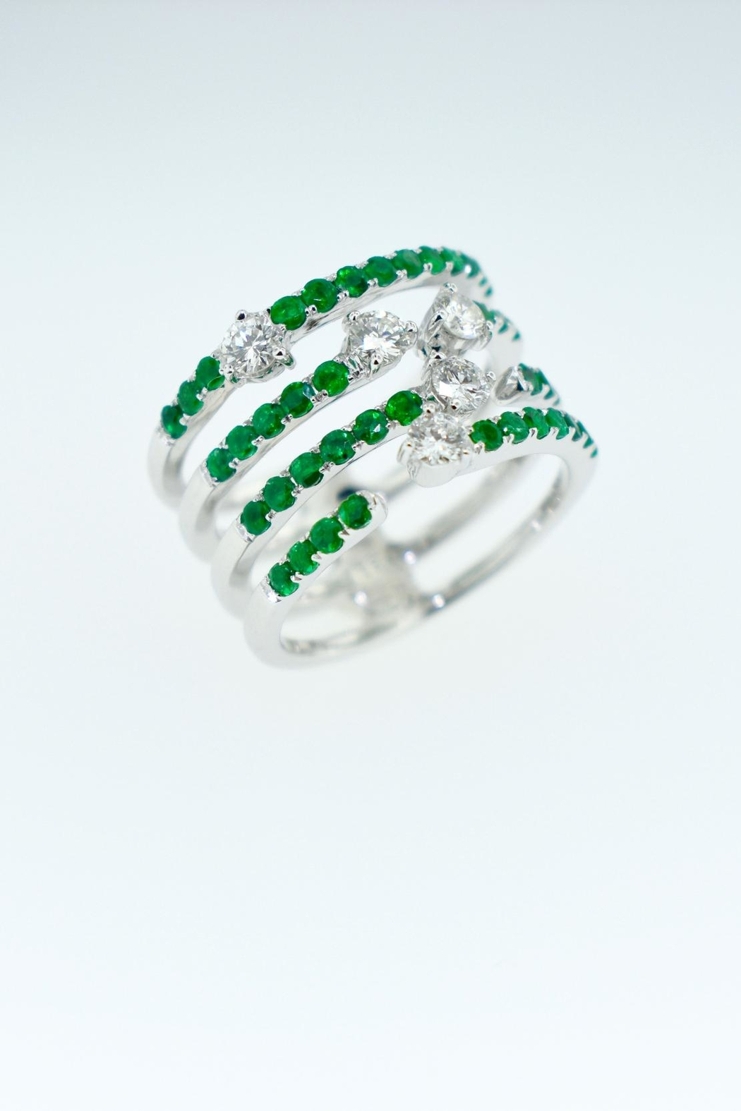 Tiara Fine Jewelry Emerald Diamond Ring - Front Full Image