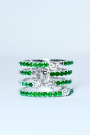 Tiara Fine Jewelry Emerald Diamond Ring - Front cropped