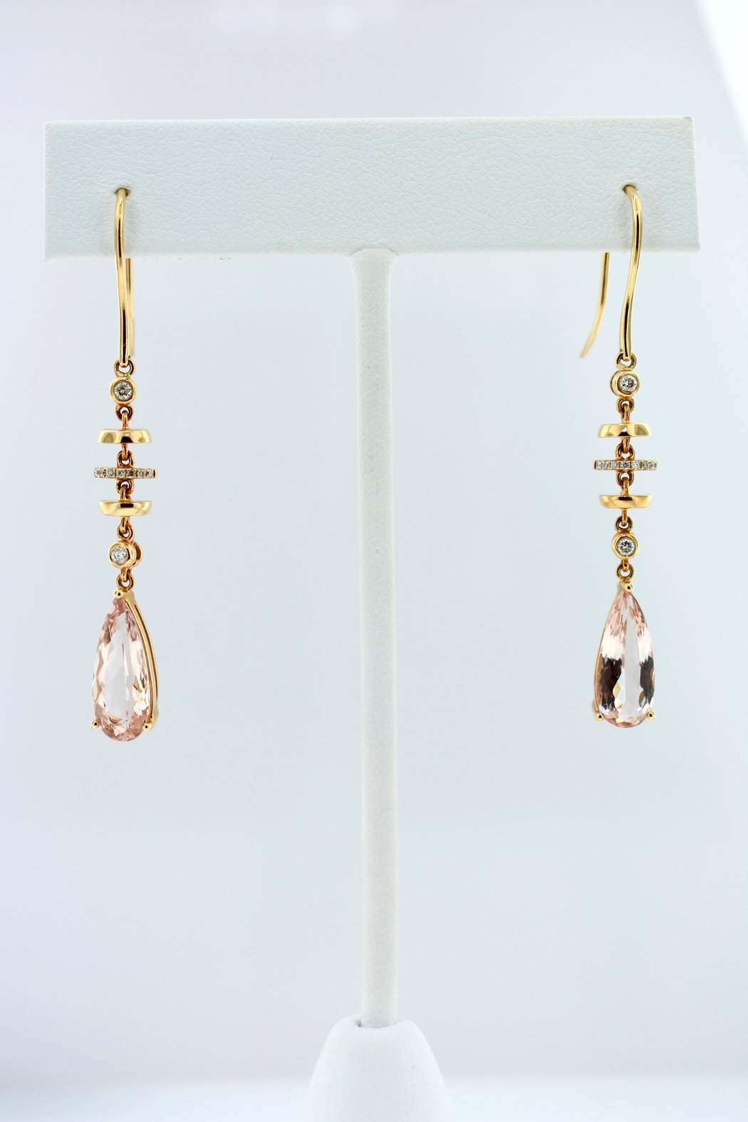 Tiara Fine Jewelry Morganite Diamond Earrings - Front Cropped Image