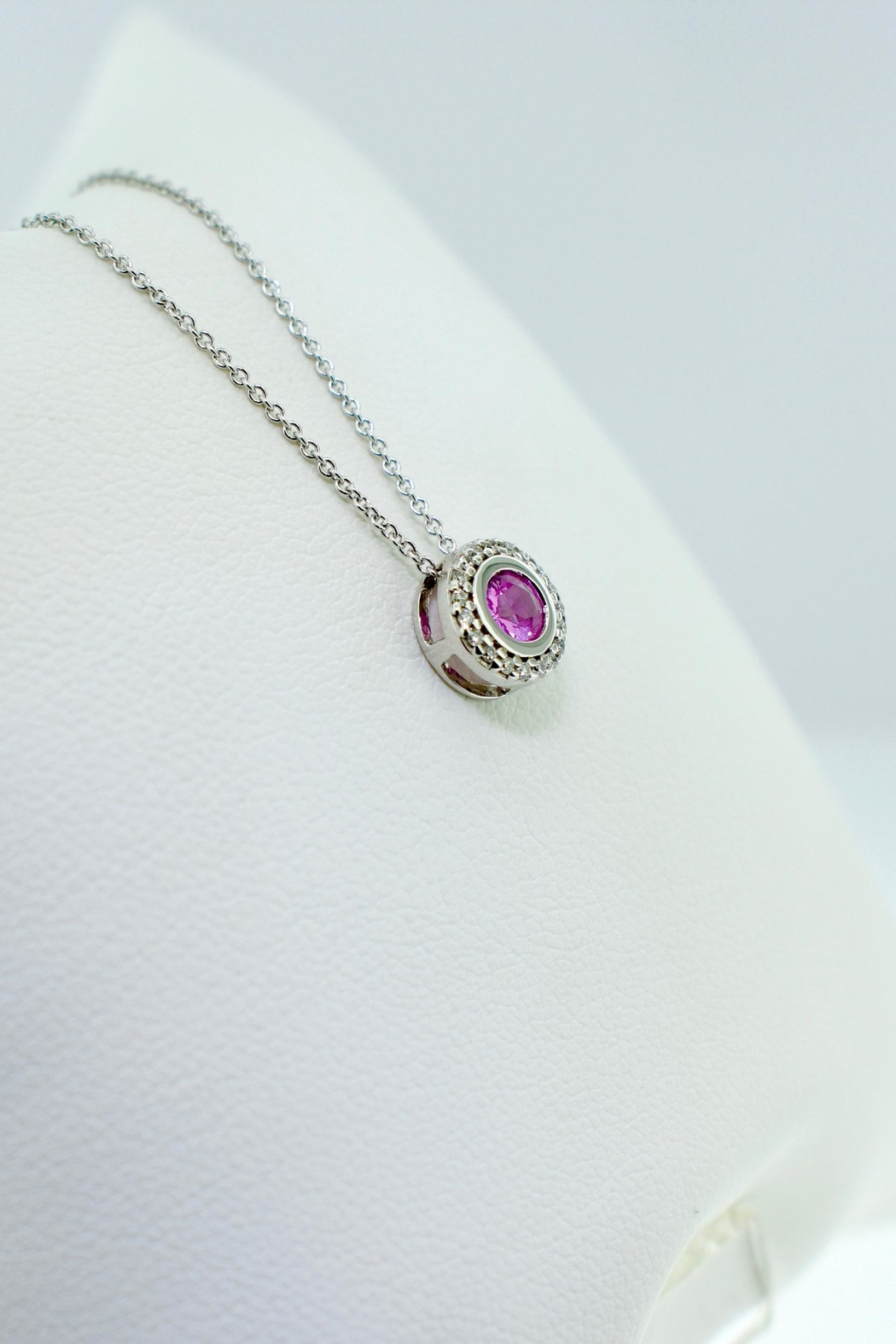Tiara Fine Jewelry Pink Sapphire Necklace - Front Full Image
