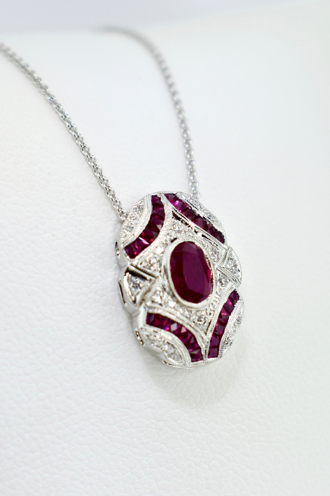Tiara Fine Jewelry Ruby Diamond Necklace - Front Full Image