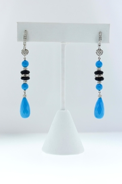 Tiara Fine Jewelry Turquoise Diamond Earrings - Product List Image