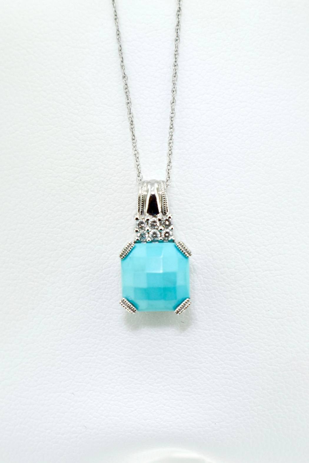 Tiara Fine Jewelry Turquoise Diamond Pendant - Front Cropped Image