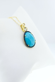 Tiara Fine Jewelry Turquoise Sapphire Necklace - Side cropped