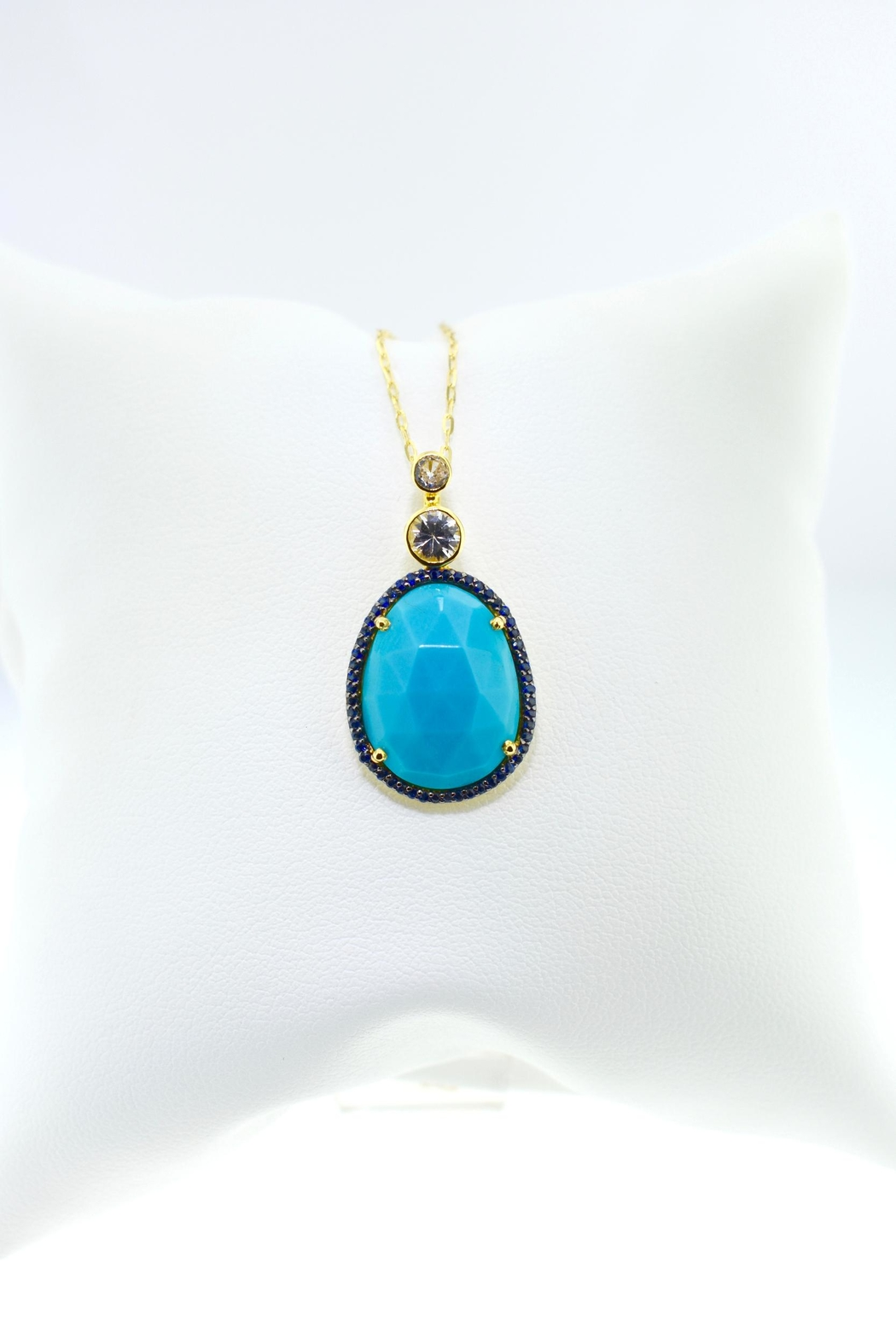 Tiara Fine Jewelry Turquoise Sapphire Necklace - Front Full Image