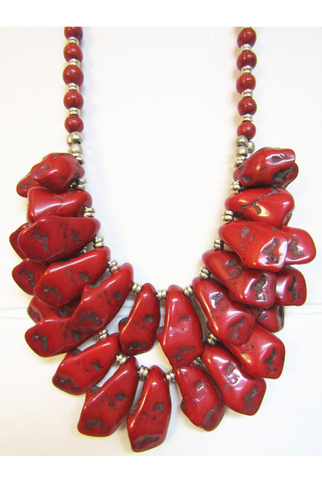 KIMBALS Tibetan Bohemian Style 2-Strand Beaded Necklace In Silver/Red - Main Image