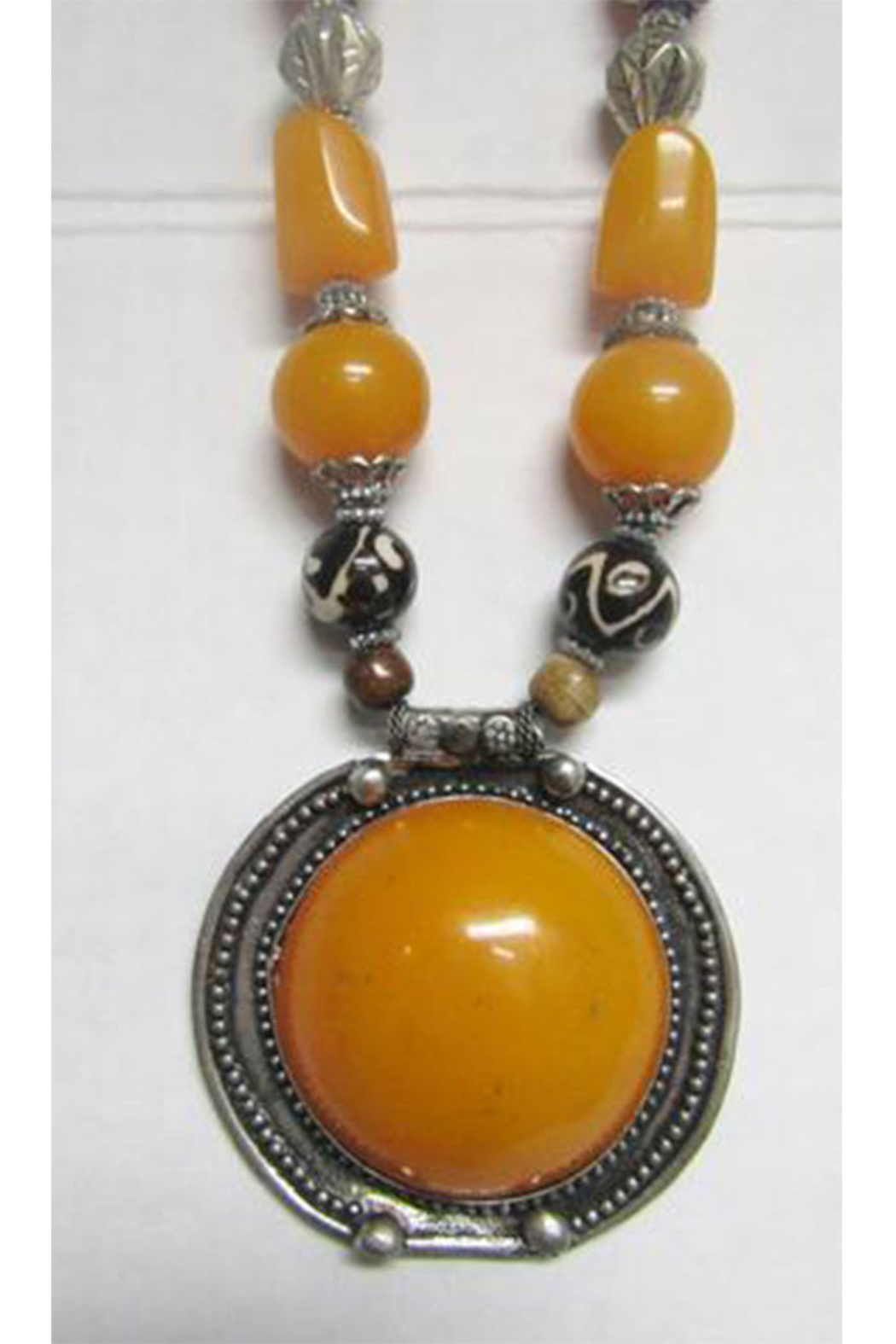 KIMBALS Tibetan Bohemian Style Beaded Necklace In Silver/Amber/Brown - Front Full Image