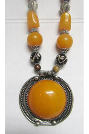 KIMBALS Tibetan Bohemian Style Beaded Necklace In Silver/Amber/Brown - Front full body