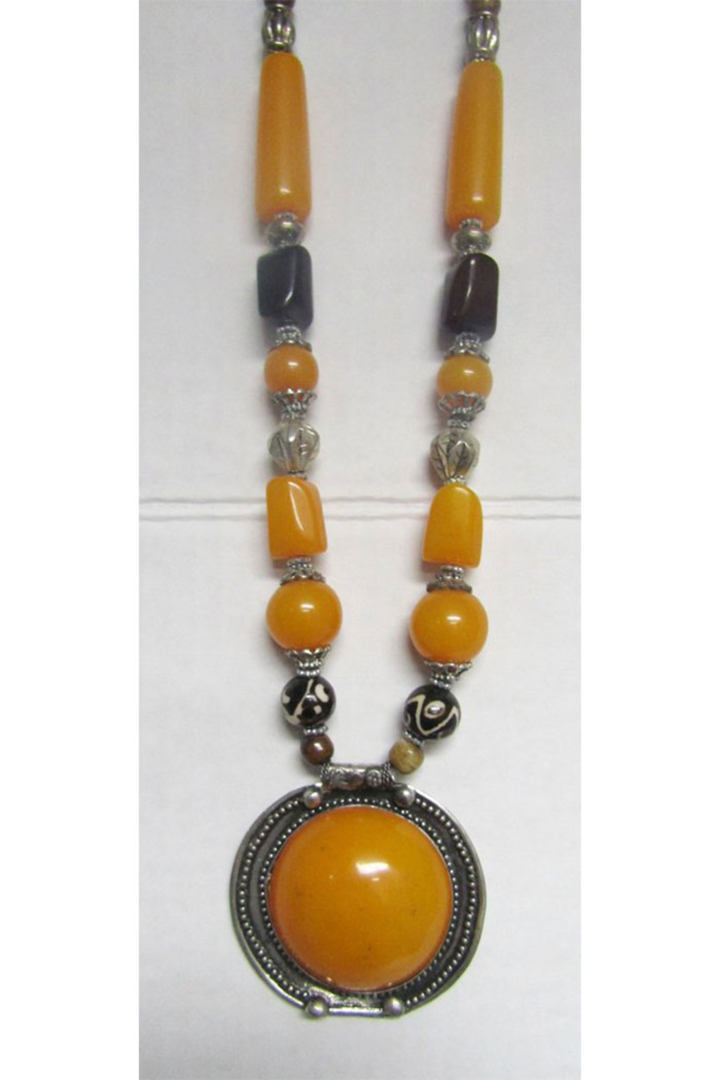 KIMBALS Tibetan Bohemian Style Beaded Necklace In Silver/Amber/Brown - Main Image