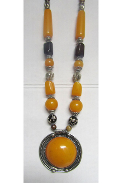 KIMBALS Tibetan Bohemian Style Beaded Necklace In Silver/Amber/Brown - Product List Image